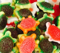 Tortugas multicolor brillo sin gluten.